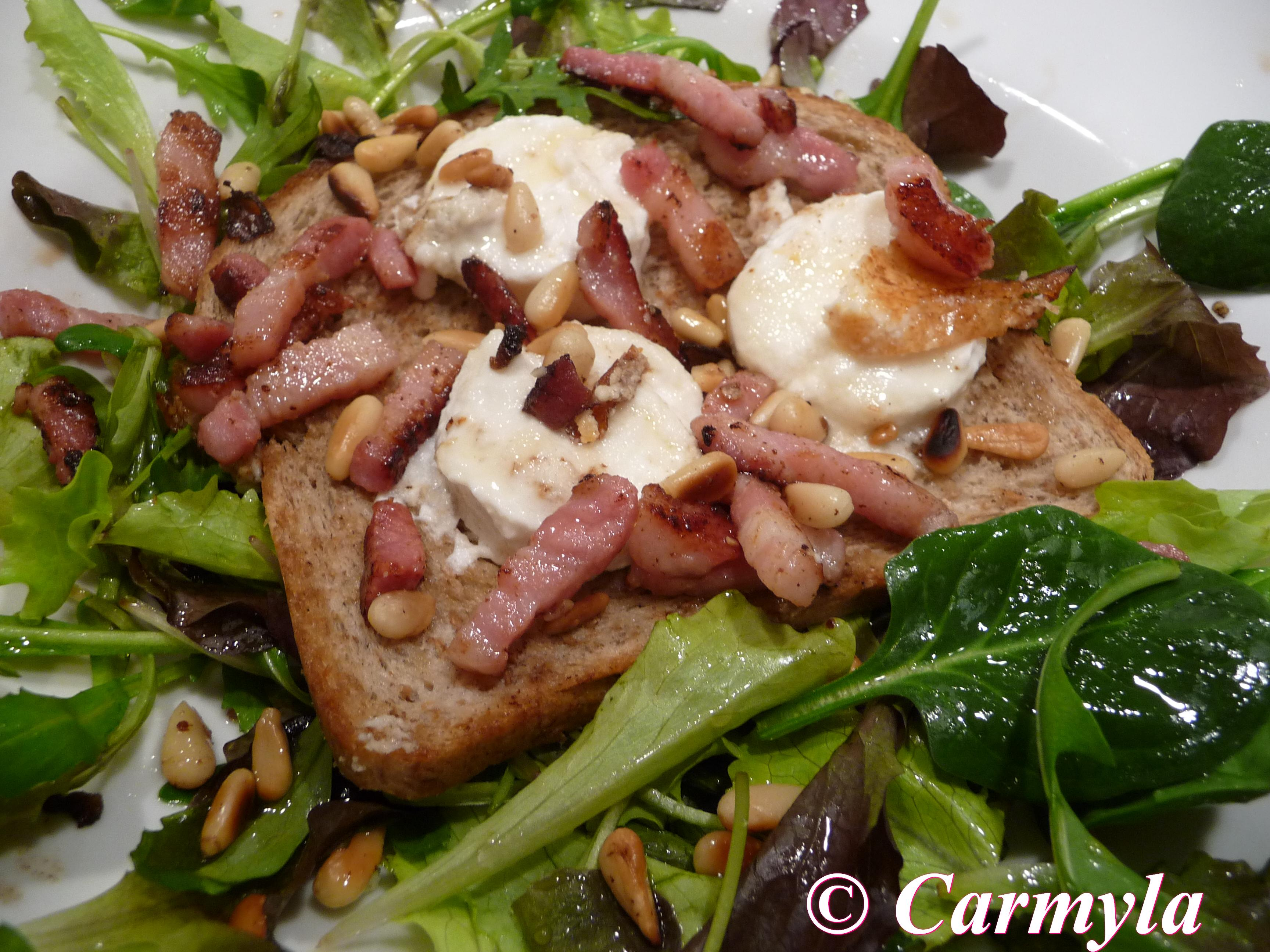 Ensalada templada de queso de cabra y bacon carmyla - Diferentes ensaladas de lechuga ...