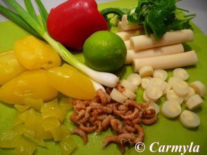 CEVICHE DE PAPAYA, PALMITO Y QUISQUILLAS ingredientes